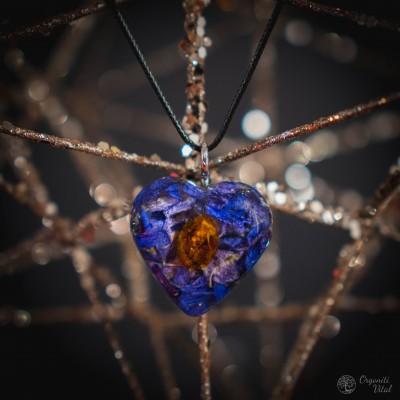 Amber - orgonite heart pendant