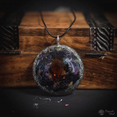 Amber - orgonite round pendant