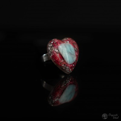 Larimar - orgonite heart ring