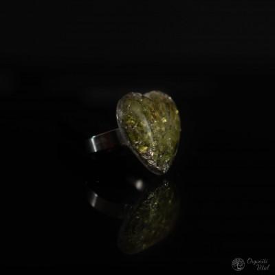 Peridot - orgonite heart ring