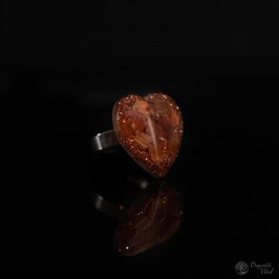 Carneol - orgonite heart ring