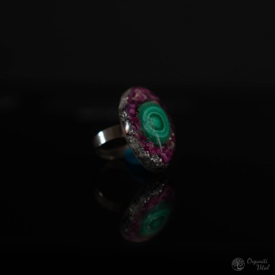 Malachite - orgonite oval ring