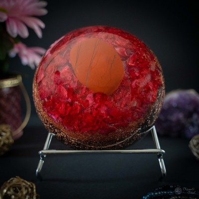 Rdeči jaspis - orgonit polobla